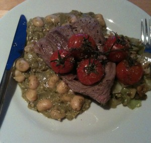 Gluten Free lamb with pesto butter beans