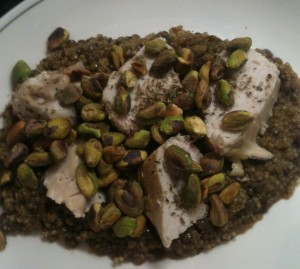 Chicken, lentils, pistachio and quinoa
